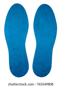 Light blue insoles for shoes isolated on white. Clipping Path included.