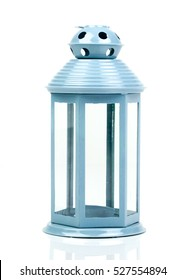 Light blue lantern. Candlestick in the form of retro lamp. White candle holder. An isolated object on white background. Top  view. Closeup.