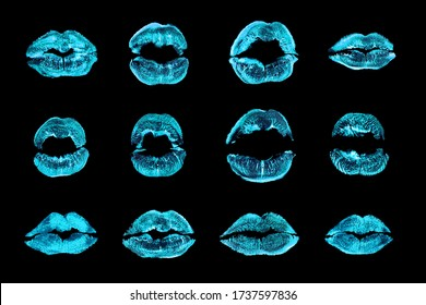 Light blue lipstick kiss print set black background isolated closeup, neon blue sexy lips makeup collection, shiny female kisses imprint, beauty make up wallpaper, fashion banner, love & passion sign