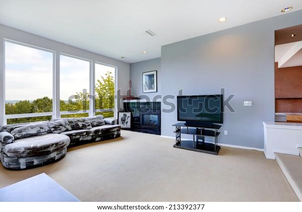 Light Blue Living Room Interior Tv Stock Photo Edit Now 213392377