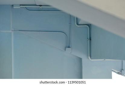 light blue loft style of under stadium stand ceiling