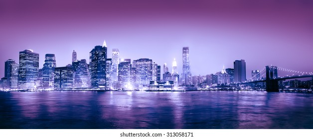Light Blue Panorama Of New York City Concept