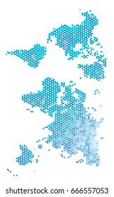 Light BLUE polygonal illustration, which consist of hexagons. Hexagonal pattern for your business design. Geometric background in Origami style with gradient.