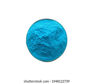 Light blue powder in bowl isolated on white, top view. Holi festival celebration