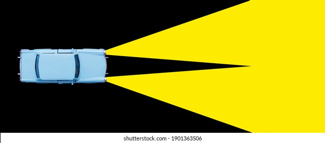 Light blue retro car toy model and xenon lamp headlight concept on black background. Rent a car, Travel accident, insurance purchase minimal concept