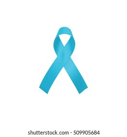 Light blue ribbon awareness isolated on white background for Addisons Disease,Behcets Disease,Chronic Illness,Hyperaldosteronism,Lymphedema,Men's Health,Prostate cancer,Thyroid Disease in Noverber
