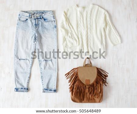 f106879832f Light Blue Ripped Boyfriend Jeans White Stock Photo (Edit Now ...