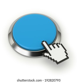 Light blue round button with steel border on white background