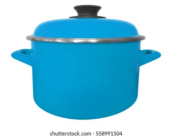Light blue saucepan isolated on white with clipping path