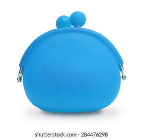 Light Blue silicone coin purse isolated over white