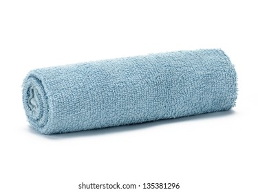 light blue terry towel on a white background