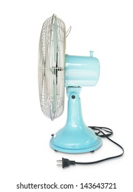 light blue vintage fan on white background