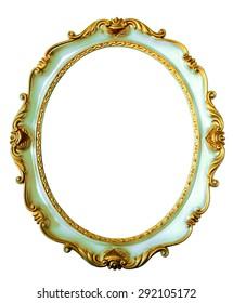 Light blue vintage frame isolated on white background