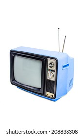 Light blue vintage style old television isolated on white