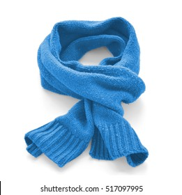 Light blue warm scarf on a white background