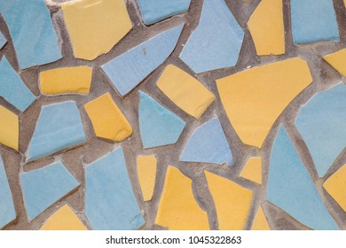 Light blue and yellow texture of color tile chips.