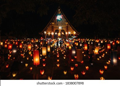 Light Boats Festival in Luang Prabang, Laos, World Heritage City October 1, 2020, Event for The End of Buddhist Lent's Day.