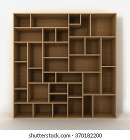 Light bookcase with shelves isolated on white background