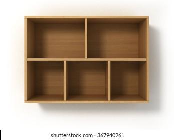 Light bookshelf isolated on white background