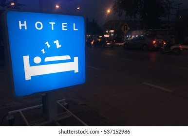 Light box with sleep people sign advertising in hotel.