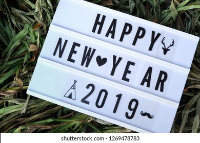 Light box.White label, There is a letter written that Happy New Year 2019.Put on a haystack.  concept:New Year's Day festival.Used as a background image