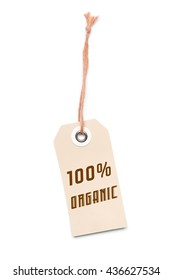 Light brown 100% Organic carton label tag with special sales discount message