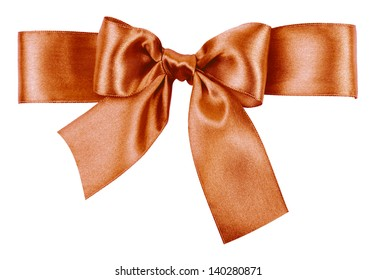 light brown bow made from silk ribbon