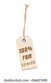 Light brown carton label tag with 100% Fair Trade message
