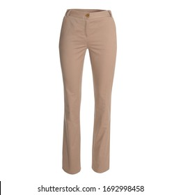 Light brown female pants is...ed on white background