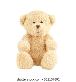 Light brown teddy bear isolated on white background.