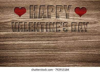 Light brown wood grain texture with a special craving Happy Valentine's Day message with the 2 red hearts.