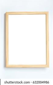 Light brown wooden frame on white background