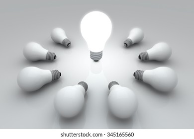 Light Bulb 3D render Circle Group Outstanding Brightness present Space for Text concept