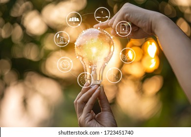light bulb against nature, icons  - Shutterstock ID 1723451740