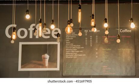 light bulb in cafe.