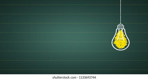 light bulb at a chalkboard