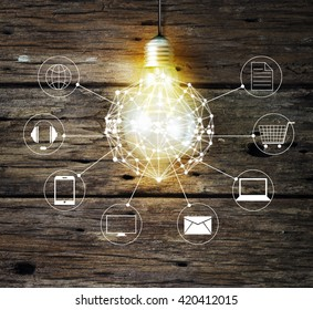 Light bulb circle global and icon customer network connection on wooden background, Omni Channel