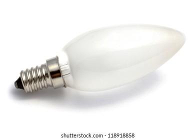 Light Bulb closeup on white background