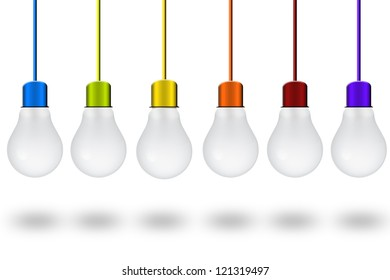 Light bulb with colorful wires hanging from the ceiling