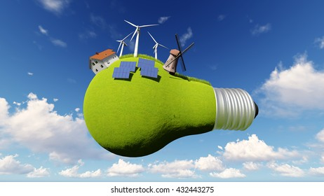 Light bulb is covered with green grass, solar panels, wind energy, windmill against the blue sky with clouds 3D illustration