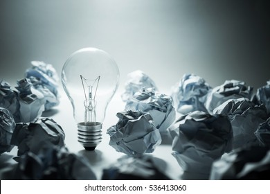Light Bulb with crumpled paper.Business idea concept