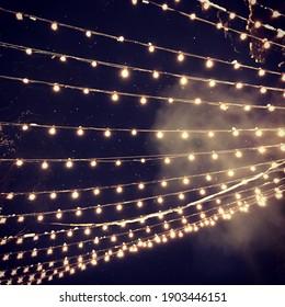 Light bulb decor, the string of lights on a dark background