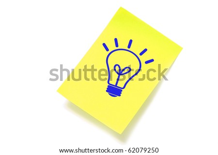 a light bulb drawn in a sticky note symbolizing concept idea
