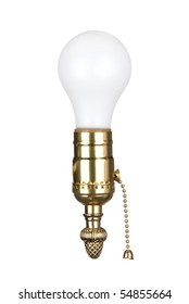 A light bulb in an electrical brass socket with pull chain.