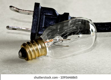 Light bulb and electrical socket/cord close-=up.