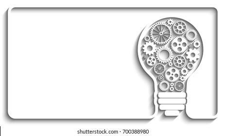light bulb with gears and cogs working together. Creative frame background for your design
