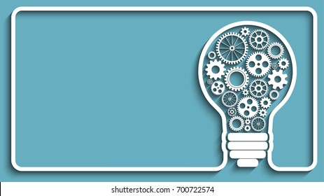 light bulb with gears and cogs working together. Creative frame.  background for your design