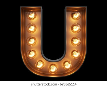 Light bulb glowing letter alphabet character U font. Front view illuminated capital symbol on black background. 3d rendering illustration