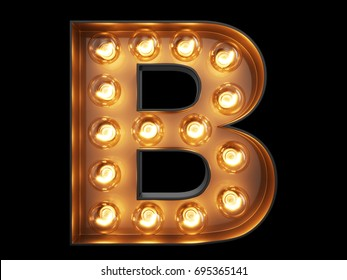 Light bulb glowing letter alphabet character B font. Front view illuminated capital symbol on black background. 3d rendering illustration