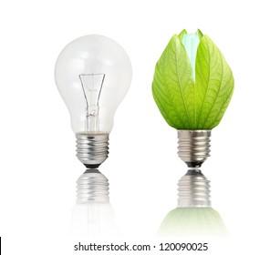Light bulb and green Light bulb on white background